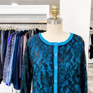 Dana Buchman • Textured Lace Cardigan • L